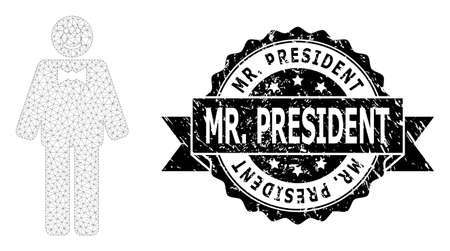Mr. President textured seal print and vector happy mister mesh structure. Black seal has Mr. President caption inside ribbon and rosette. Abstract flat mesh happy mister, designed with flat mesh. Ilustração