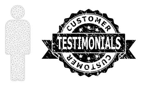 Customer Testimonials rubber seal print and vector person mesh model. Black stamp seal contains Customer Testimonials text inside ribbon and rosette. Abstract 2d mesh person, built from flat mesh. Vectores