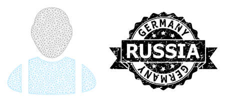 Germany Russia corroded seal print and vector worker mesh structure. Black seal contains Germany Russia tag inside ribbon and rosette. Abstract flat mesh worker, built from flat mesh. Çizim