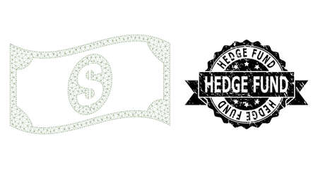 Hedge Fund rubber seal imitation and vector waving dollar banknote mesh model. Black seal has Hedge Fund tag inside ribbon and rosette. Abstract flat mesh waving dollar banknote, Illustration