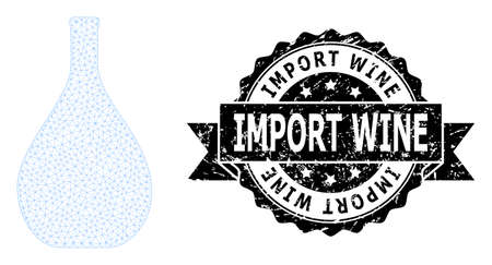 Import Wine grunge stamp seal and vector glass jug mesh structure. Black stamp seal has Import Wine text inside ribbon and rosette. Abstract flat mesh glass jug, designed with polygonal grid.