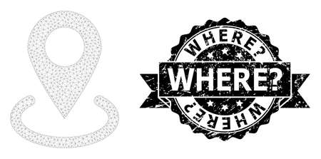 Where? rubber watermark and vector location mesh model. Black seal has Where? tag inside ribbon and rosette. Abstract flat mesh location, designed with flat mesh.