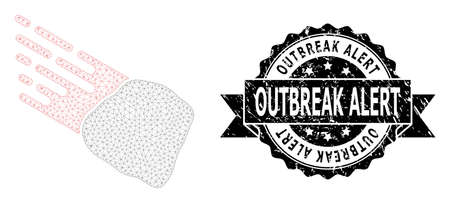 Outbreak Alert textured stamp and vector stone meteorite mesh structure. Black stamp seal contains Outbreak Alert text inside ribbon and rosette. Abstract flat mesh stone meteorite,