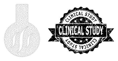 Clinical Study rubber seal print and vector chemical aroma mesh model. Black seal contains Clinical Study tag inside ribbon and rosette. Abstract flat mesh chemical aroma, built from flat mesh.  イラスト・ベクター素材