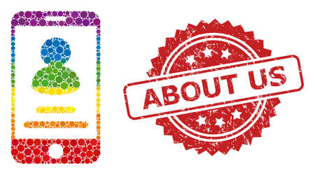 Smartphone user info mosaic icon of round items in variable sizes and LGBT color shades, and About Us rubber rosette seal. A dotted LGBT-colored Smartphone user info for lesbians, gays, transgenders, Ilustração Vetorial