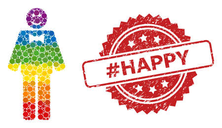 Happy mister collage icon of spheric blots in variable sizes and LGBT colored color tints, and #Happy rubber rosette stamp seal. A dotted LGBT-colored Happy mister for lesbians, gays, transgenders,