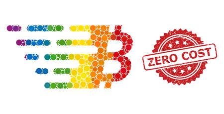 Bitcoin symbol collage icon of spheric elements in various sizes and LGBT colored color tinges, and Zero Cost dirty rosette seal. A dotted LGBT-colored Bitcoin symbol for lesbians, gays, transgenders, Vektoros illusztráció