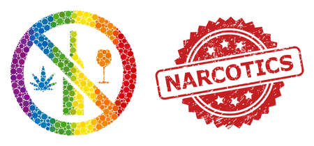 Forbidden wine drugs collage icon of spheric spots in different sizes and LGBT colored shades, and Narcotics unclean rosette stamp seal. A dotted LGBT-colored Forbidden wine drugs for lesbians, gays,
