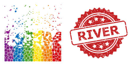 Boiling liquid mosaic icon of spheric blots in variable sizes and LGBT bright color tints, and River unclean rosette stamp. A dotted LGBT-colored Boiling liquid for lesbians, gays, transgenders,