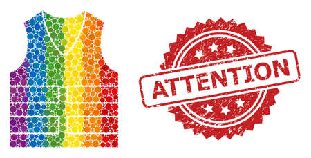 Yellow vest collage icon of spheric dots in variable sizes and spectrum color tints, and Attention corroded rosette stamp seal. A dotted LGBT-colored Yellow vest for lesbians, gays,