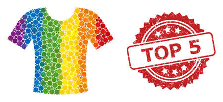 T-shirt collage icon of circle items in variable sizes and LGBT color tones, and Top 5 scratched rosette seal. A dotted LGBT-colored T-shirt for lesbians, gays, transgenders, and bisexuals. Ilustracje wektorowe