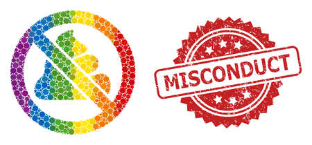Forbidden shit collage icon of filled circle elements in various sizes and LGBT colored color tinges, and Misconduct unclean rosette seal print. A dotted LGBT-colored Forbidden shit for lesbians,