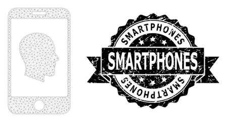 Smartphones scratched stamp and vector cellphone profile mesh structure. Black seal has Smartphones text inside ribbon and rosette. Abstract flat mesh cellphone profile, created from flat mesh.