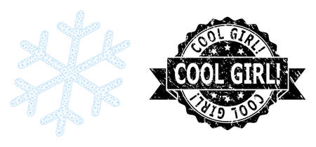 Cool Girl! scratched stamp and vector snowflake mesh model. Black stamp seal contains Cool Girl! tag inside ribbon and rosette. Abstract 2d mesh snowflake, designed with flat mesh.
