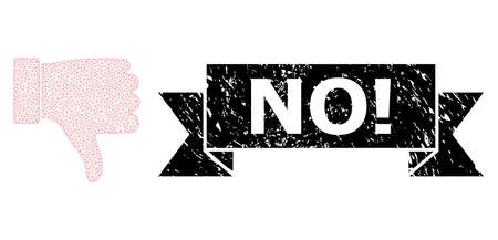 No! textured stamp seal and vector thumb down mesh structure. Black stamp seal includes No! text inside ribbon and rosette. Abstract 2d mesh thumb down, designed with triangular grid. Ilustrace