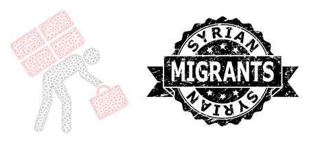 Syrian Migrants unclean stamp seal and vector refugee person mesh structure. Black stamp seal has Syrian Migrants tag inside ribbon and rosette. Abstract flat mesh refugee person,