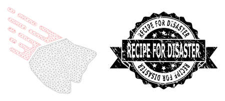 Recipe for Disaster textured seal and vector falling rock stone mesh structure. Black stamp seal contains Recipe for Disaster text inside ribbon and rosette. Abstract flat mesh falling rock stone,