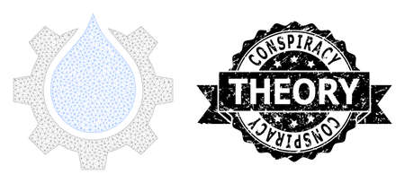 Conspiracy Theory dirty stamp and vector water gear service mesh structure. Black stamp seal has Conspiracy Theory text inside ribbon and rosette. Abstract flat mesh water gear service,