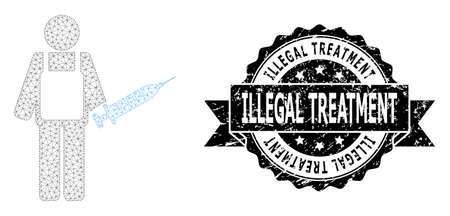 Illegal Treatment grunge seal and vector vaccination medic mesh structure. Black stamp seal includes Illegal Treatment title inside ribbon and rosette. Abstract flat mesh vaccination medic,