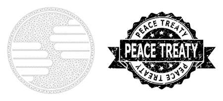 Peace Treaty corroded stamp and vector hands circle mesh model. Black stamp seal contains Peace Treaty caption inside ribbon and rosette. Abstract flat mesh hands circle, built from flat mesh.