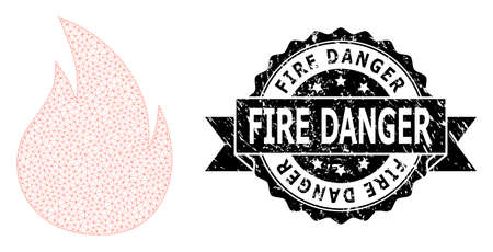 Fire Danger unclean seal and vector fire mesh model. Black stamp seal has Fire Danger text inside ribbon and rosette. Abstract flat mesh fire, built from flat mesh. 向量圖像