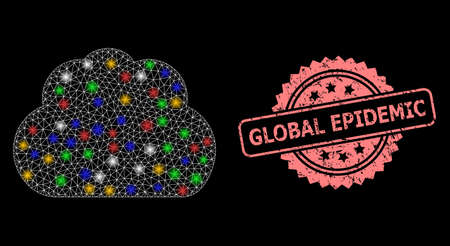Glare mesh network cloud with light dots, and Global Epidemic textured rosette seal imitation. Illuminated vector mesh created from cloud icon. Pink seal has Global Epidemic tag inside rosette.