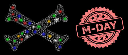 Glowing mesh web crossing bones with glowing spots, and M-Day scratched rosette stamp seal. Illuminated vector mesh created from crossing bones pictogram. Illusztráció