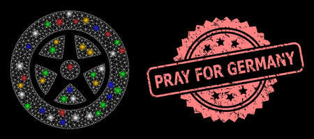 Bright mesh web car wheel with bright dots, and Pray for Germany dirty rosette seal. Illuminated vector structure created from car wheel symbol. Pink seal has Pray for Germany text inside rosette.