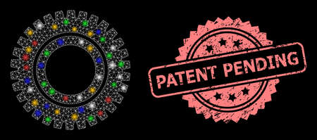 Glowing mesh net clock gear with glowing spots, and Patent Pending scratched rosette stamp seal. Illuminated vector constellation created from clock gear icon.