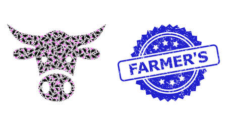 FarmerS textured seal print and vector recursion mosaic cow head. Blue stamp seal includes FarmerS caption inside rosette. Vector mosaic is designed with scattered rotated cow head icons.