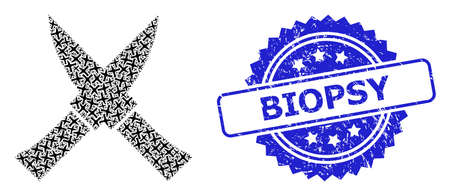 Biopsy dirty stamp seal and vector recursive collage crossing knives. Blue stamp has Biopsy caption inside rosette. Vector collage is formed from repeating rotated crossing knives pictograms.