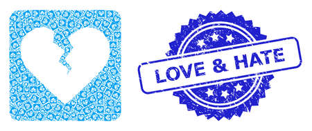 Love & Hate rubber stamp seal and vector recursion mosaic divorce heart. Blue stamp seal includes Love & Hate tag inside rosette.