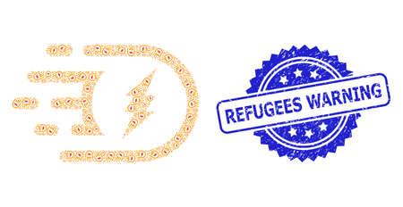 Refugees Warning grunge stamp seal and vector recursion collage electric power. Blue stamp seal includes Refugees Warning tag inside rosette. Ilustrace