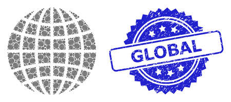 Global unclean seal print and vector fractal collage globe. Blue stamp seal has Global text inside rosette. Vector collage is formed from recursive rotated globe icons. Vektorové ilustrace