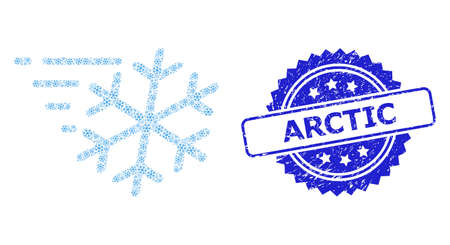 Arctic corroded seal and vector fractal collage frost wind. Blue seal includes Arctic caption inside rosette. Vector collage is designed from scattered rotated frost wind pictograms.