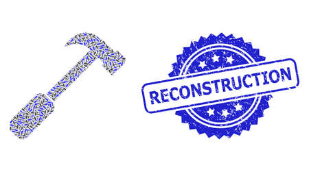 Reconstruction rubber seal and vector recursive collage hammer. Blue stamp seal includes Reconstruction caption inside rosette. Vector collage is composed with recursive rotated hammer items. Illusztráció