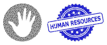 Human Resources scratched stamp and vector fractal mosaic hand circle. Blue stamp includes Human Resources caption inside rosette. Vector mosaic is made of random rotated hand circle items.