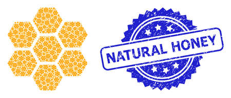 Natural Honey grunge stamp seal and vector recursion collage honeycombs. Blue stamp seal contains Natural Honey title inside rosette.