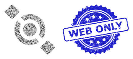 Web Only scratched seal and vector recursive composition joint node. Blue stamp seal has Web Only text inside rosette. Vector mosaic is designed with recursive rotated joint node items.
