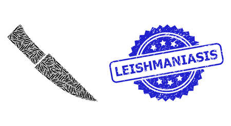 Leishmaniasis dirty stamp seal and vector recursive composition knife. Blue stamp seal includes Leishmaniasis text inside rosette. Vector collage is formed of repeating rotated knife pictograms.