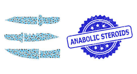 Anabolic Steroids rubber seal imitation and vector recursion mosaic knives. Blue stamp seal contains Anabolic Steroids text inside rosette.