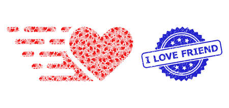 I Love Friend unclean seal imitation and vector fractal mosaic love heart. Blue stamp includes I Love Friend tag inside rosette. Vector mosaic is constructed with scattered rotated love heart icons.