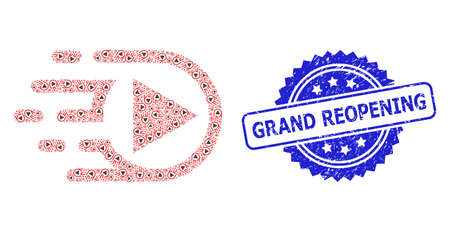 Grand Reopening textured stamp seal and vector recursive collage play function. Blue stamp seal includes Grand Reopening tag inside rosette.