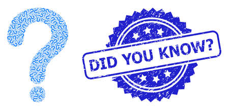 Did You Know? dirty stamp seal and vector fractal mosaic question mark. Blue stamp seal includes Did You Know? text inside rosette. Vector mosaic is made of randomized rotated question mark items. Illustration
