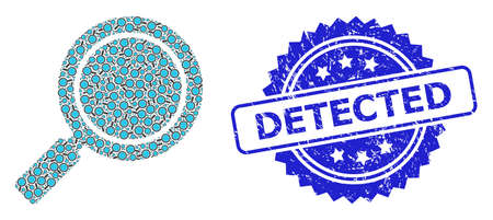Detected scratched seal imitation and vector recursive mosaic search loupe. Blue stamp seal includes Detected tag inside rosette. Vector collage is made with recursive rotated search loupe pictograms.