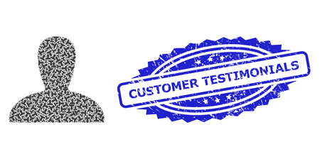 Customer Testimonials corroded seal and vector recursive collage spawn persona. Blue stamp seal includes Customer Testimonials tag inside rosette. Vettoriali