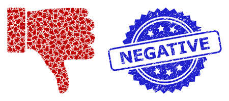 Negative dirty seal imitation and vector fractal mosaic thumb down. Blue seal contains Negative text inside rosette. Vector mosaic is designed from random rotated thumb down pictograms. Illustration