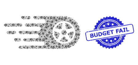Budget Fail rubber seal and vector recursion collage tire wheel. Blue stamp seal contains Budget Fail text inside rosette. Vector collage is created of randomized rotated tire wheel icons.