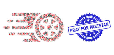 Pray for Pakistan grunge stamp and vector fractal mosaic tire wheel. Blue stamp has Pray for Pakistan tag inside rosette. Vector mosaic is designed from randomized rotated tire wheel items.