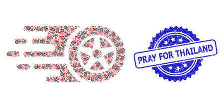 Pray for Thailand corroded stamp seal and vector recursion collage tire wheel. Blue stamp seal contains Pray for Thailand caption inside rosette. Ilustração